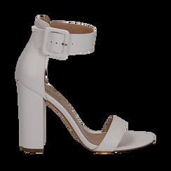 Sandali bianchi in eco-pelle, tacco colonna 10, 50 cm , Scarpe, 132760832EPBIAN035, 001a