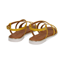 Sandali flat gialli in eco-pelle, Saldi Estivi, 136102003EPGIAL036, 004 preview