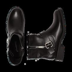 Biker boots neri in eco-pelle con gambale traforato estensibile, tacco 3 cm, Scarpe, 130619015EPNERO, 003 preview