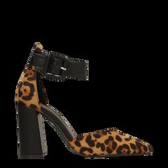 Décolleté leopard con maxi cinturino, tacco 9 cm, Scarpe, 124895575MFLEOP036, 001a