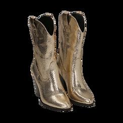 Botas camperas de ecopiel estampado de serpiente en color dorado, tacón 8 cm, Zapatos, 151198105EVOROG035, 002 preview