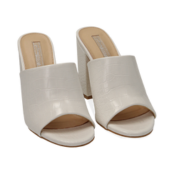 Mules bianche in eco-pelle cocco print, tacco 9 cm , Chaussures, 152783430CCBIAN036, 002 preview
