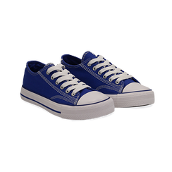 Sneakers blu in canvas, Scarpe, 137300862CABLUE036, 002 preview