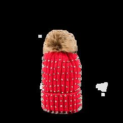 Berretto rosso in lana con strass e pon-pon, Saldi Abbigliamento, 12B409806TSROSS3XL, 001a