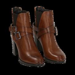 Ankle boots cuoio in pelle di vitello, tacco 8 cm , Stivaletti, 148900180VICUOI036, 002a