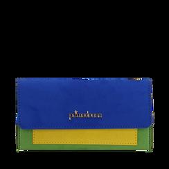 Portafogli blu cobalto in microfibra, NUOVI ARRIVI, 153731639MFBLCOUNI, 001a