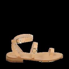 Sandali beige in pelle di vacchetta, Primadonna, 158100570VABEIG037, 001a