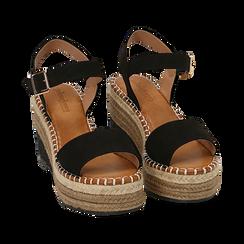 Sandali neri in microfibra, zeppa 9 cm , Chaussures, 154907131MFNERO, 002 preview