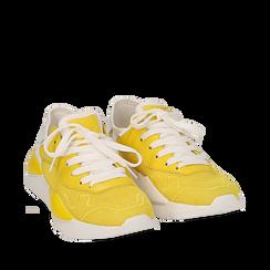 Dad shoes en tejido tecnico color amarillo, Zapatos, 15F609059TSGIAL036, 002a