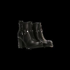 Tronchetti neri con fibbia rettangolare, tacco 4 cm, Scarpe, 123018601EPNERO036, 002