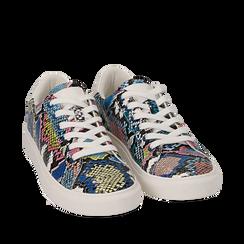 Sneakers nero/blu in eco-pelle snake print, Sneakers, 152607101PTNEBL035, 002a