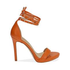 Sandali lace-up arancio, tacco 11 cm, 172133431EPARAN038, 001a