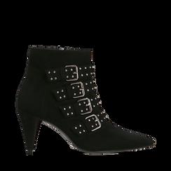 Tronchetti neri con fibbie metalliche, tacco 8 cm, Primadonna, 124988013MFNERO037, 001a