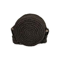 Borsa piccola nera in rafia, Primadonna, 175123102RFNEROUNI, 003 preview