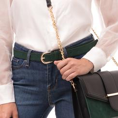 Cintura verde in microfibra, Abbigliamento, 144045710MFVERDUNI, 002a