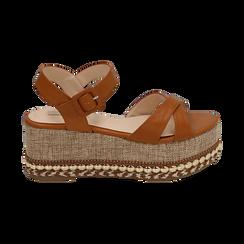 Sandali cuoio, zeppa 7 cm, Scarpe, 154960902EPCUOI, 001 preview