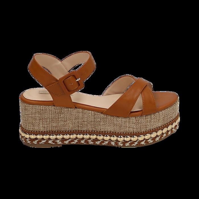 Sandali cuoio, zeppa 7 cm, Scarpe, 154960902EPCUOI