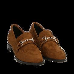 Mocasines de microfibra en color cuero, Zapatos, 164964141MFCUOI041, 002a