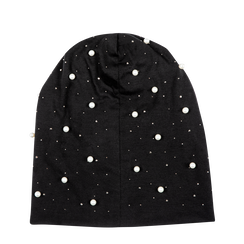Berretto invernale nero in tessuto con perle, Saldi Abbigliamento, 12B480739TSNEROUNI, 001a