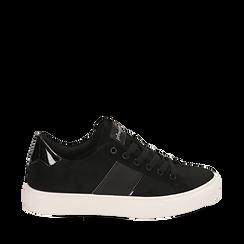Sneakers nere in microfibra, Scarpe, 142619071MFNERO035, 001a
