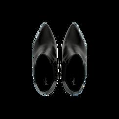 Chelsea Boots neri in vera pelle, tacco a cono 9 cm, Scarpe, 12D613910VINERO, 004 preview