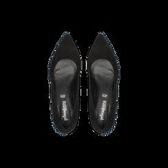 Décolleté nere Kitten heels in vero camoscio, tacco 3 cm, Scarpe, 12D617210CMNERO, 004 preview