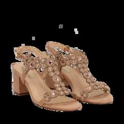 Sandali con strass nude in microfibra, tacchi 6,50 cm, Primadonna, 134956321MFNUDE035, 002a