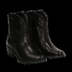 Camperos neri in vera pelle, tacco in legno 4,5 cm, Scarpe, 131600961PENERO036, 002a