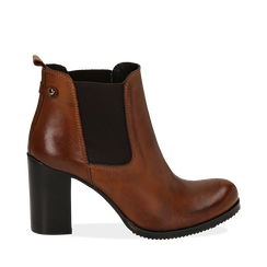 Ankle boots cuoio in pelle di vitello, tacco 8 cm , Stivaletti, 148900880VICUOI036, 001a