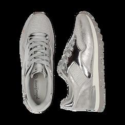 Sneakers argento in tessuto laminato e dettagli mirror, Scarpe, 130100107LMARGE036, 003 preview