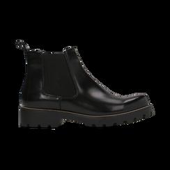 Chelsea Boots neri, punta tonda, Scarpe, 120608573ABNERO, 001 preview