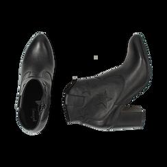 Ankle boots neri in pelle con stelle ricamate, tacco 7,50 cm, Primadonna, 157725907PENERO036, 003 preview