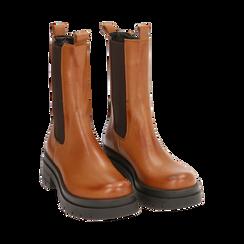 Chelsea boots cognac in pelle, Primadonna, 167277044PECOGN035, 002 preview