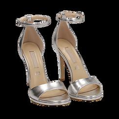 Sandali argento in eco-pelle laminata, tacco 11,50 cm, Scarpe, 152133410LMARGE035, 002a