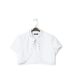 Giacca bolero bianca in eco-pelle con borchie, Saldi Estivi, 136518172EPBIANL, 001a