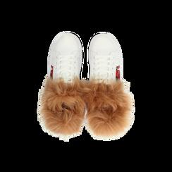 Sneakers bianche con ricami animalier e dettagli in faux-fur, Scarpe, 126102020EPBIAN, 004 preview