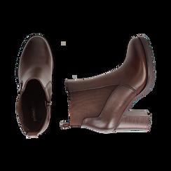 Chelsea boots cuoio in eco-pelle, tacco 8,5 cm , Scarpe, 143066110EPCUOI036, 003 preview