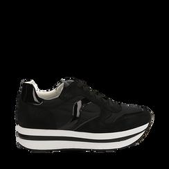 Sneakers nere in microfibra con maxi-suola platform, Scarpe, 132899261MFNERO035, 001a