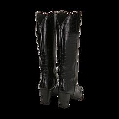 Camperos neri in eco-pelle stampa cocco, tacco 9 cm , Primadonna, 148900302CCNERO035, 003 preview