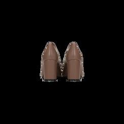 Décolleté taupe con punta affusolata, tacco 7 cm, Scarpe, 128485162EPTAUP036, 003 preview