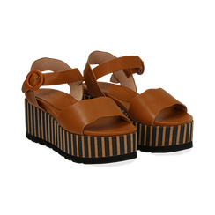 Sandali platform cuoio in eco-pelle, zeppa optical 7,50 cm , Primadonna, 134901231EPCUOI035, 002 preview