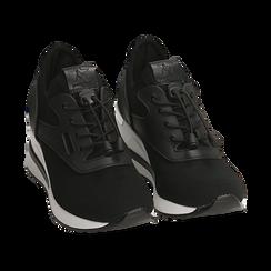 Sneakers nere in tessuto con zeppa, Primadonna, 152803421TSNERO036, 002 preview