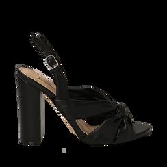 Sandali neri in eco-pelle con nodo, tacco 10 cm, Scarpe, 132760842EPNERO035, 001a