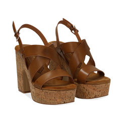 Sandali cuoio in eco-pelle, tacco in sughero 11 cm ,