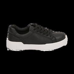 Baskets noir en simili-cuir, Chaussures, 150620171EPNERO037, 001 preview