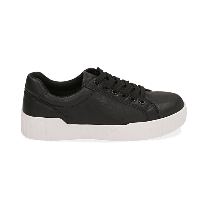 Baskets noir en simili-cuir, Chaussures, 150620171EPNERO037