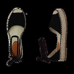 Espadrillas lace-up nere in microfibra, Primadonna, 154930501MFNERO035, 003 preview