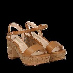 Sandali cuoio in eco-pelle, tacco in sughero 9 cm, Primadonna, 138402256EPCUOI037, 002a
