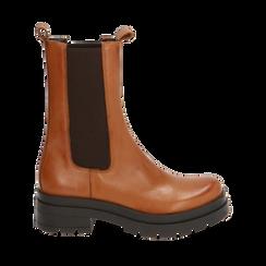 Chelsea boots cognac in pelle, Primadonna, 167277044PECOGN035, 001a