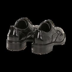 Stringate nere in eco-pelle abrasivata con lavorazione Duilio, Scarpe, 140618203ABNERO036, 004 preview